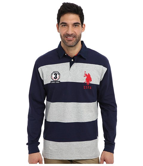 U s polo assn long sleeve stripe and solid heavy weight for Long sleeve striped rugby shirt