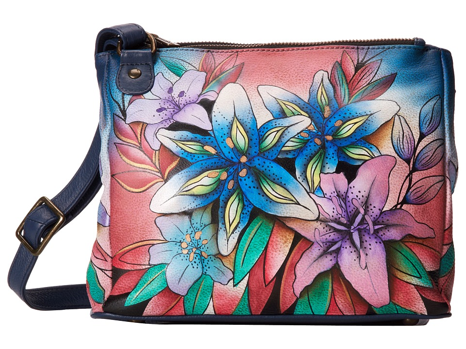 Anuschka Handbags - 525 (Luscious Lilies Denim) Cross Body Handbags