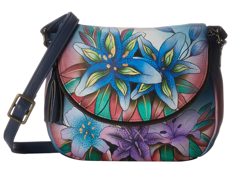 Anuschka Handbags - 547 (Luscious Lilies Denim) Handbags