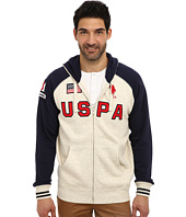 U.S. POLO ASSN. - Varsity Style Raglan Fleece Hooded Sweat Jacket