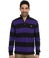 U.S. POLO ASSN. - Striped Rib Mock Neck 1/4 Zip Pullover
