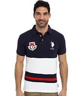 U.S. POLO ASSN. - Color Block Slim Fit Number 1 Applique & Logo Patch Pique Polo