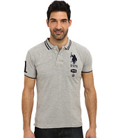 U.S. POLO ASSN. - Short Sleeve Slim Fit Number 1 Applique and Quilt Detail Polo