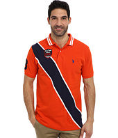 U.S. POLO ASSN. - Diagonal Stripes Short Sleeve Pique Polo