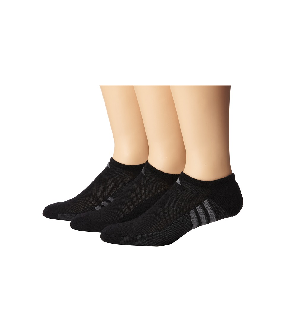 adidas Climacool Superlite 3 Pair No Show Sock Black/Graphite/Medium Lead Mens No Show Socks Shoes