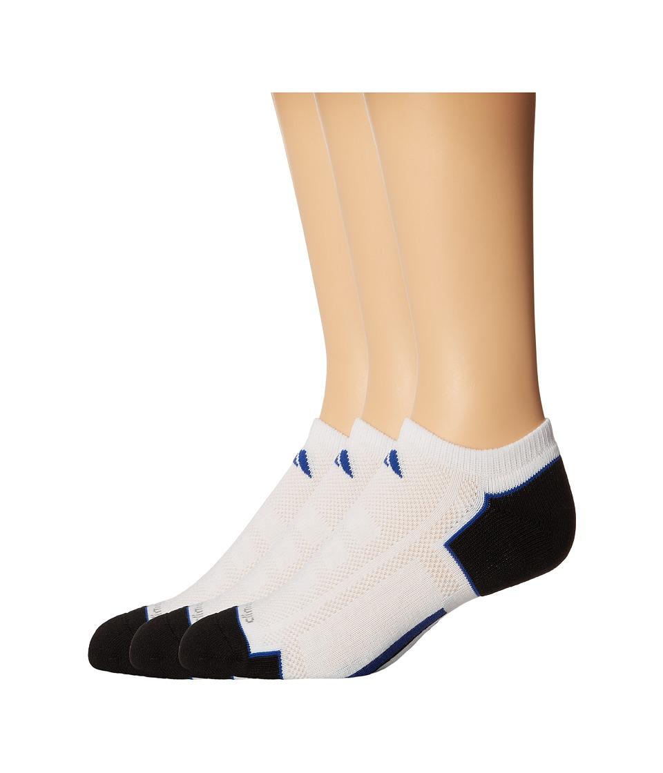 adidas Climacool II 2 Pair No Show Sock White/Black/Collegiate Royal Mens No Show Socks Shoes