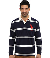 U.S. POLO ASSN. - Striped Long Sleeve Jersey Polo w/ White Collar