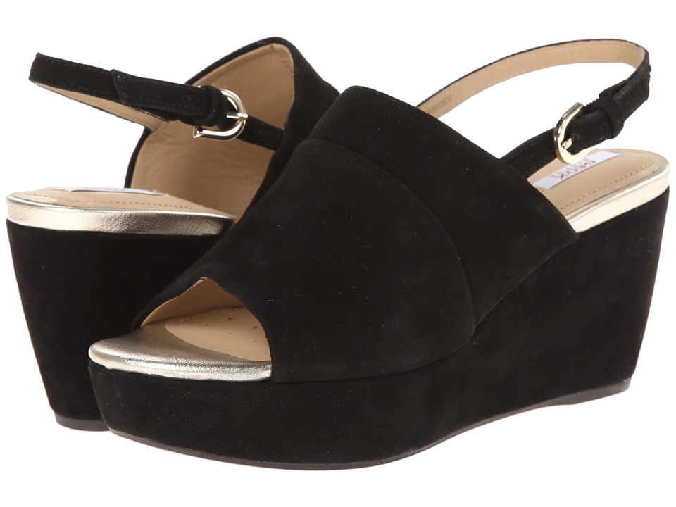 geox d thelma black womens wedge shoes on