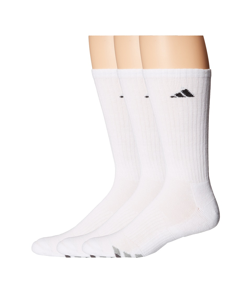 adidas - Cushioned 3-Stripe 3-Pair Crew Sock (White/Black/Granite/Light Onix) Mens Crew Cut Socks Shoes