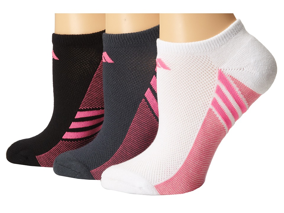 adidas Climacool Superlite 3 Pair No Show Sock White/Solar Pink/Black/Solar Pink/Bold Onix/Solar Pink Womens No Show Socks Shoes