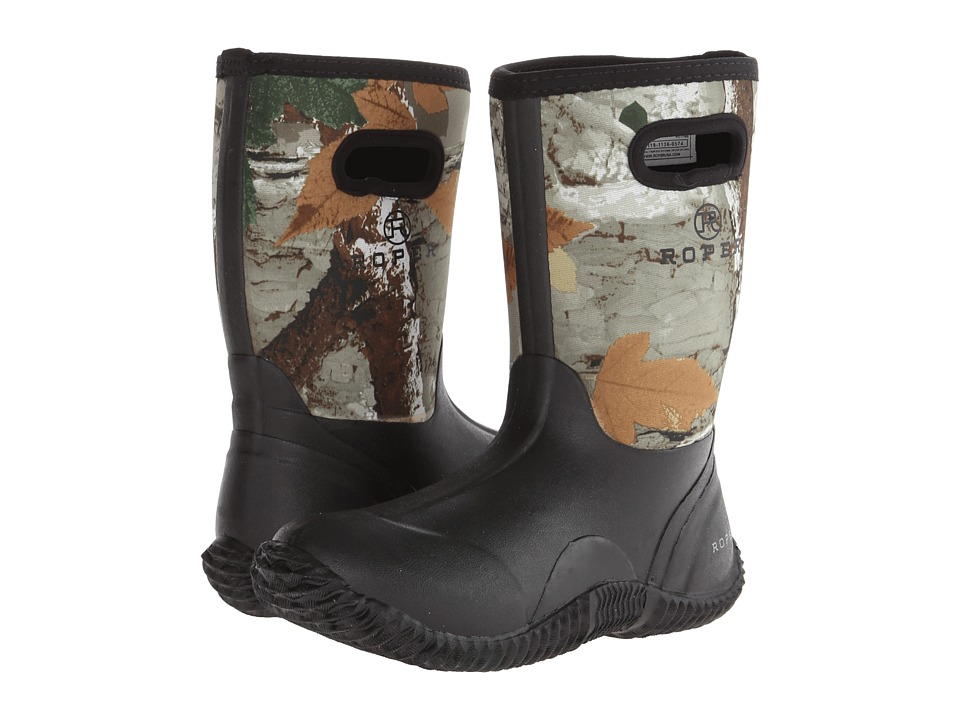 Roper Kids Neoprene Camo Barn Boot (Big Kid) (Black) Kids Shoes