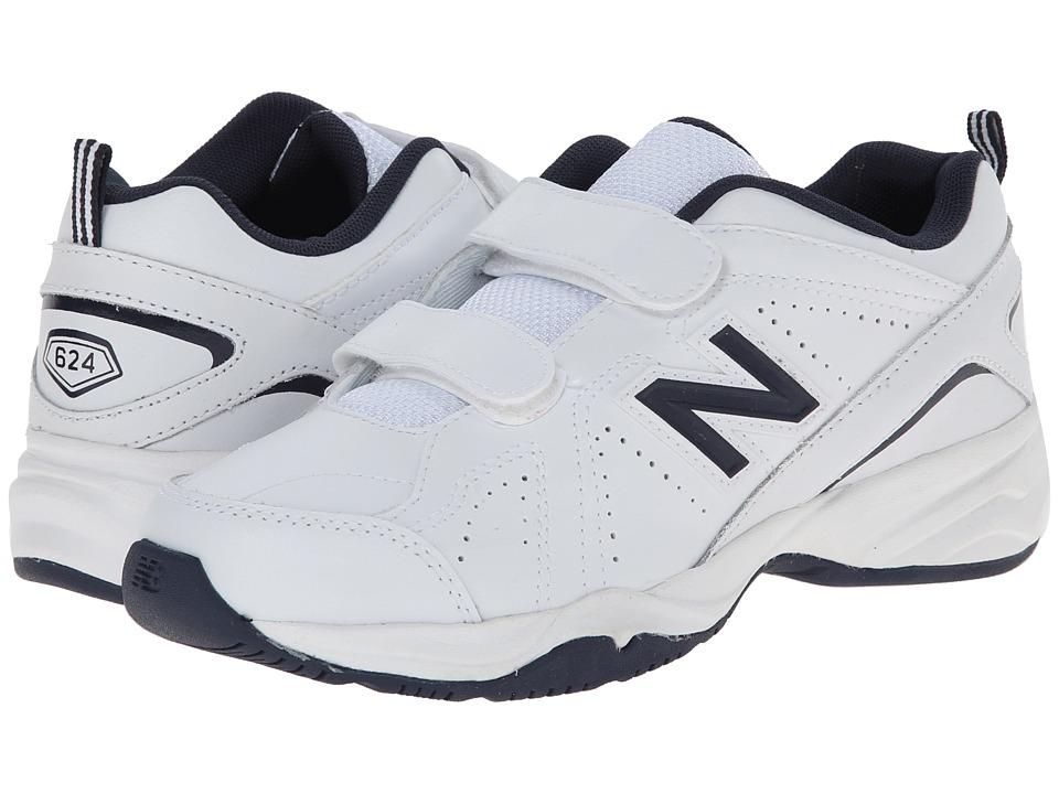 New Balance Kids - KV624 (Little Kid/Big Kid) (White/Navy) Kids Shoes