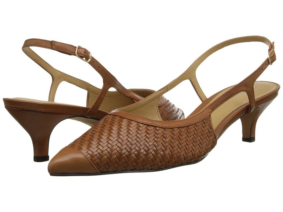 Trotters Kimberly Luggage Burnished Veg Kid Leather Womens Slip on Dress Shoes