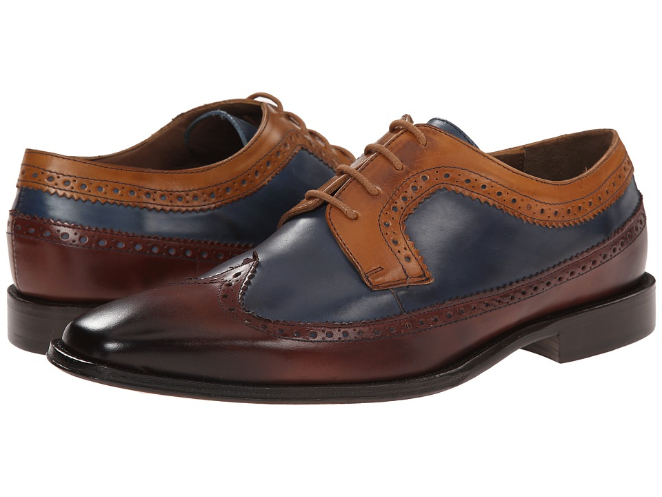 Messico - Chamarel YellowBlueCognac Leather Mens Dress Flat Shoes $139.00 AT vintagedancer.com