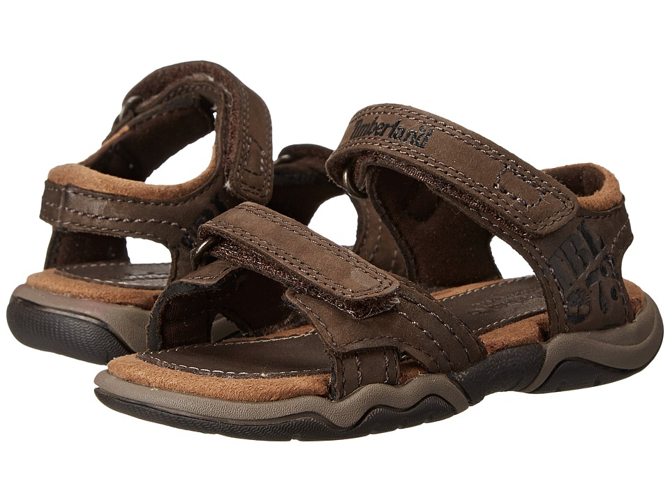 Timberland Kids - Earthkeepers Oak Bluffs Leather 2-Strap (Toddler/Little Kid) (Dark Brown) Boy's Shoes