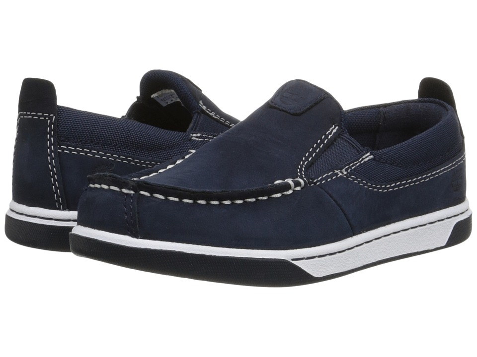 Timberland Kids - Earthkeepers Groveton Leather and Fabric Slip-On (Toddler/Little Kid) (Navy) Boys Shoes