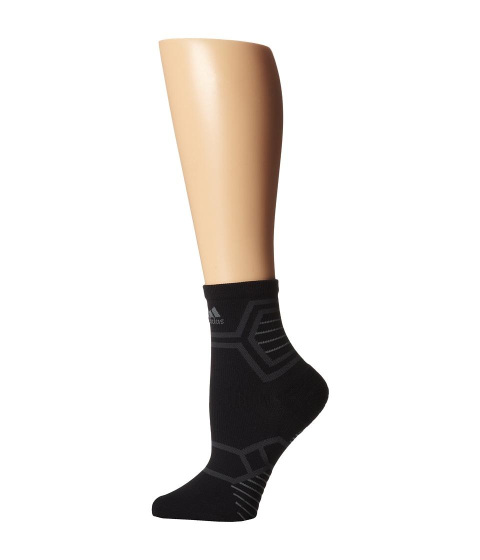 adidas - Energy Running Single Mid-Crew (Black/Solar Green) Crew Cut Socks Shoes