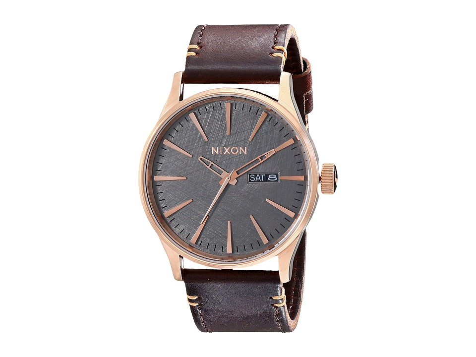 Nixon - Sentry Leather (Rose Gold/Gunmetal/Brown) Watches