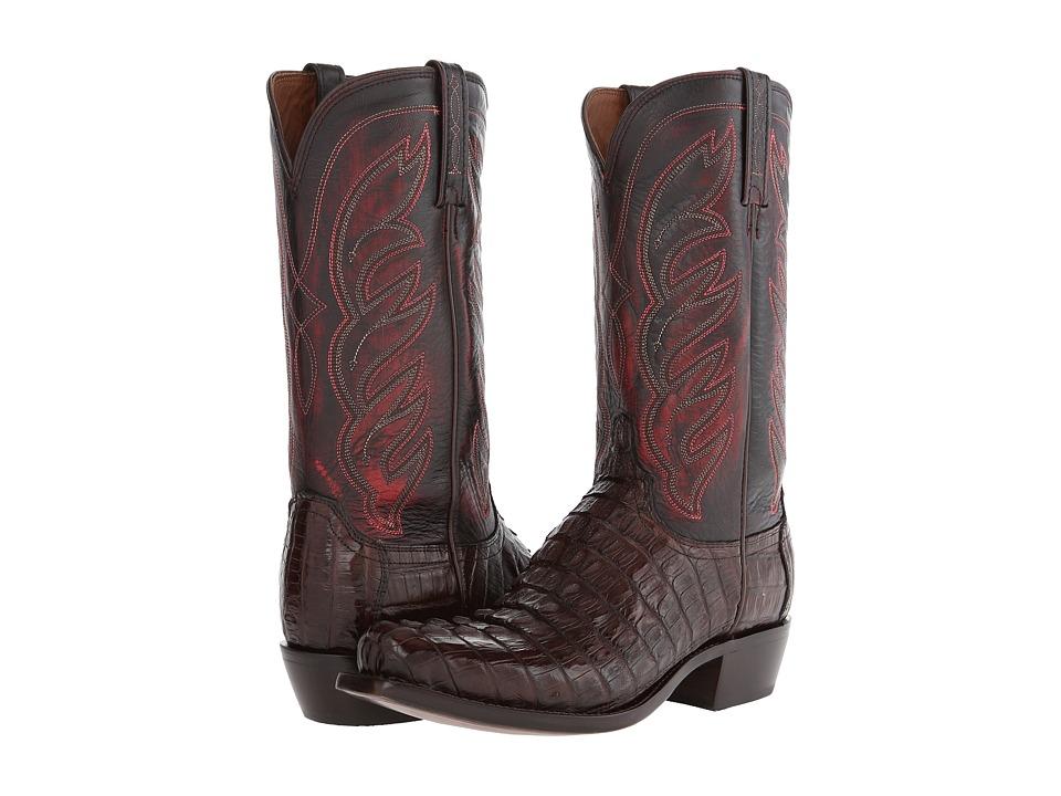 Lucchese M2692 (Barrel Brown Hornback Caiman) Cowboy Boots