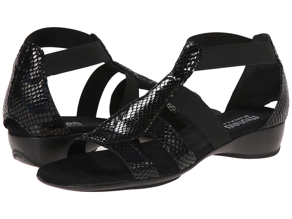 Munro American Zena Black Petrol Snake Womens Sandals