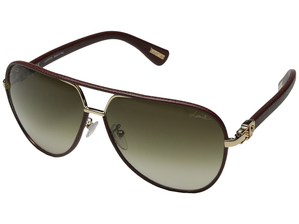 Lanvin SLN022 Burgundy Leather/Gold/Gradient Brown Fashion Sunglasses