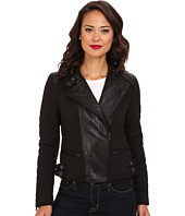 LAUREN Ralph Lauren - Asymmetrical Mixed Media Moto Leather Jacket