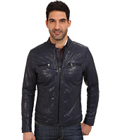 Kenneth Cole Sportswear - Zip Pockets Leather Moto Jacket