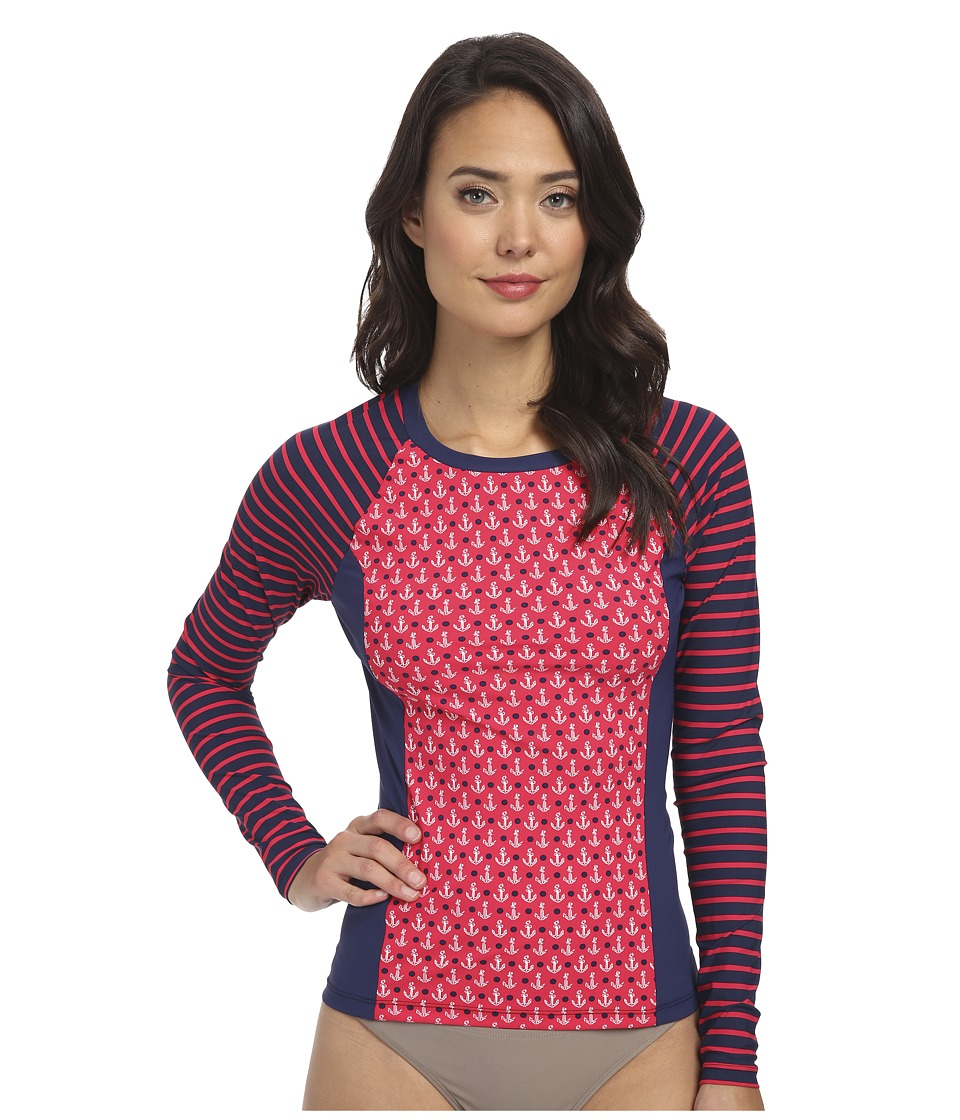 Sperry Top-Sider Anchors Aweigh Rashguard Top (Ruby) Women's Swimwear