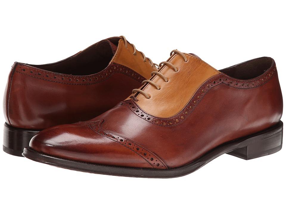 Messico Felix Yellow/Cognac Leather Mens Dress Flat Shoes