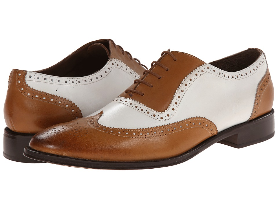 Messico - Capuchino TanWhite Leather Mens Dress Flat Shoes $139.00 AT vintagedancer.com