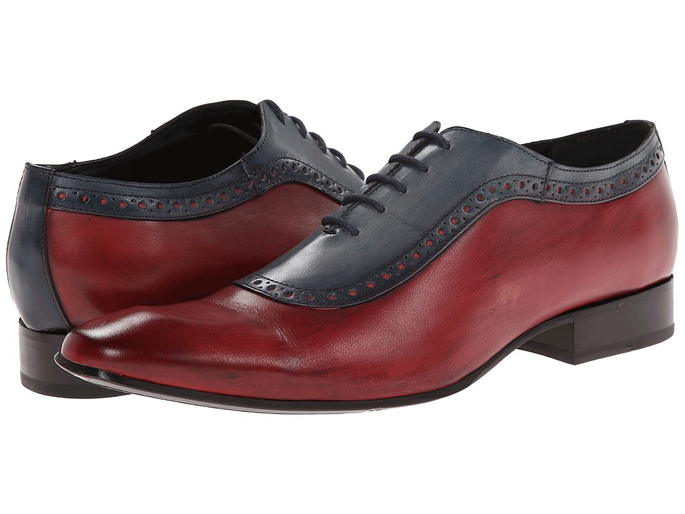 Messico Bohemios Blue/Red Leather Mens Dress Flat Shoes