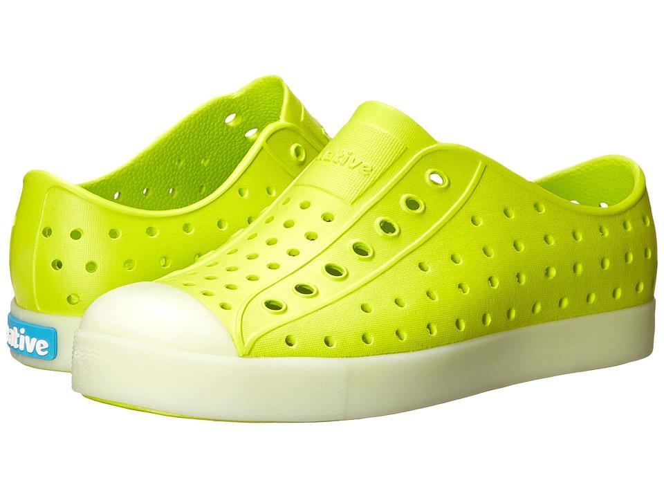 Native Kids Shoes Jefferson Little Kid Chartreuse Green Glow In the Dark Boys Shoes