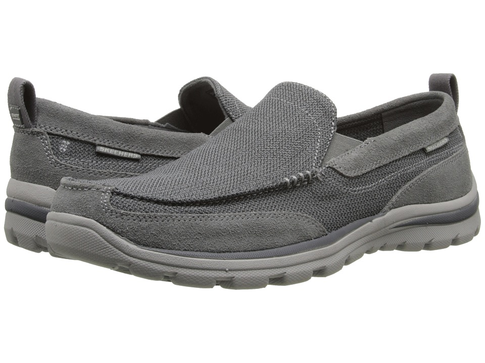 Skechers Relaxed Fit Superior - Milford (Charcoal/Grey) Men's Slip on Shoes