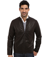 Perry Ellis - Faux Leather Zip Front Jacket