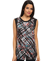 Vince Camuto - Short Sleeve Ultra Plaid Blouse w/ Overlay