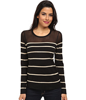 Vince Camuto - Long Sleeve Crew Neck Engineered Striped Sweater