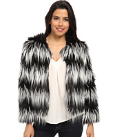 Vince Camuto - Collarless Striped Faux Fur Jacket