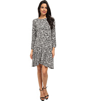 Vince Camuto - Animal Flurry Long Sleeve Dress w/ Asymmetrical Flounce