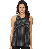 Vince Camuto - Short Sleeve Linear Stripe Crossed Layered Blouse