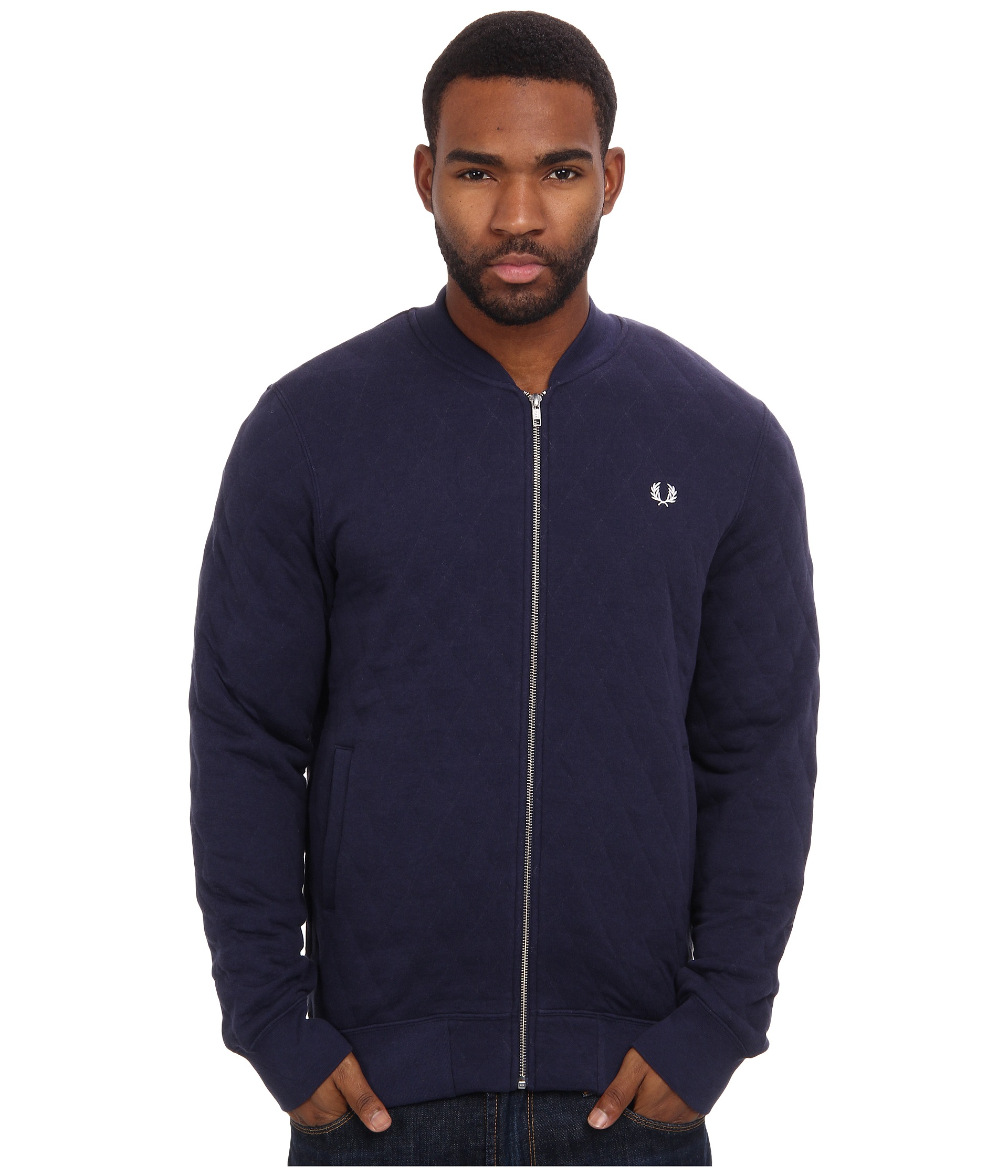 fred perry quilted marl bomber jacket carbon blue shipped free at zappos. Black Bedroom Furniture Sets. Home Design Ideas