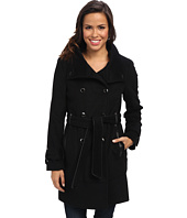 Calvin Klein - Double Breasted Belted Convertible Stand Collar Wool Trench Coat CW380770
