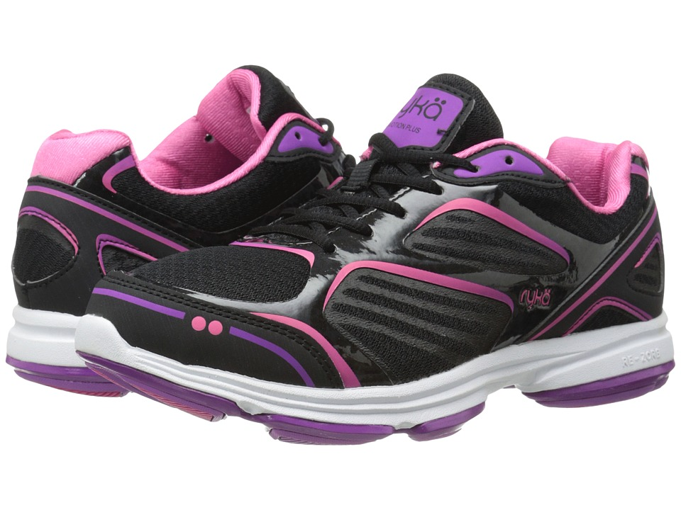 Ryka Devotion Plus Black/Cool Mist Grey/Bright Violet/Hot Pink Womens Shoes