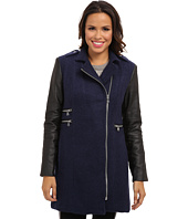 Calvin Klein - Asymmetrical Zip Boucle Coat w/ Faux Leather Sleeves CW351052