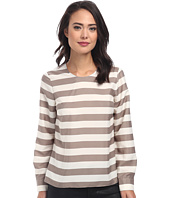 Vince Camuto - Long Sleeve Crew Neck Micro Bold Stripe Blouse