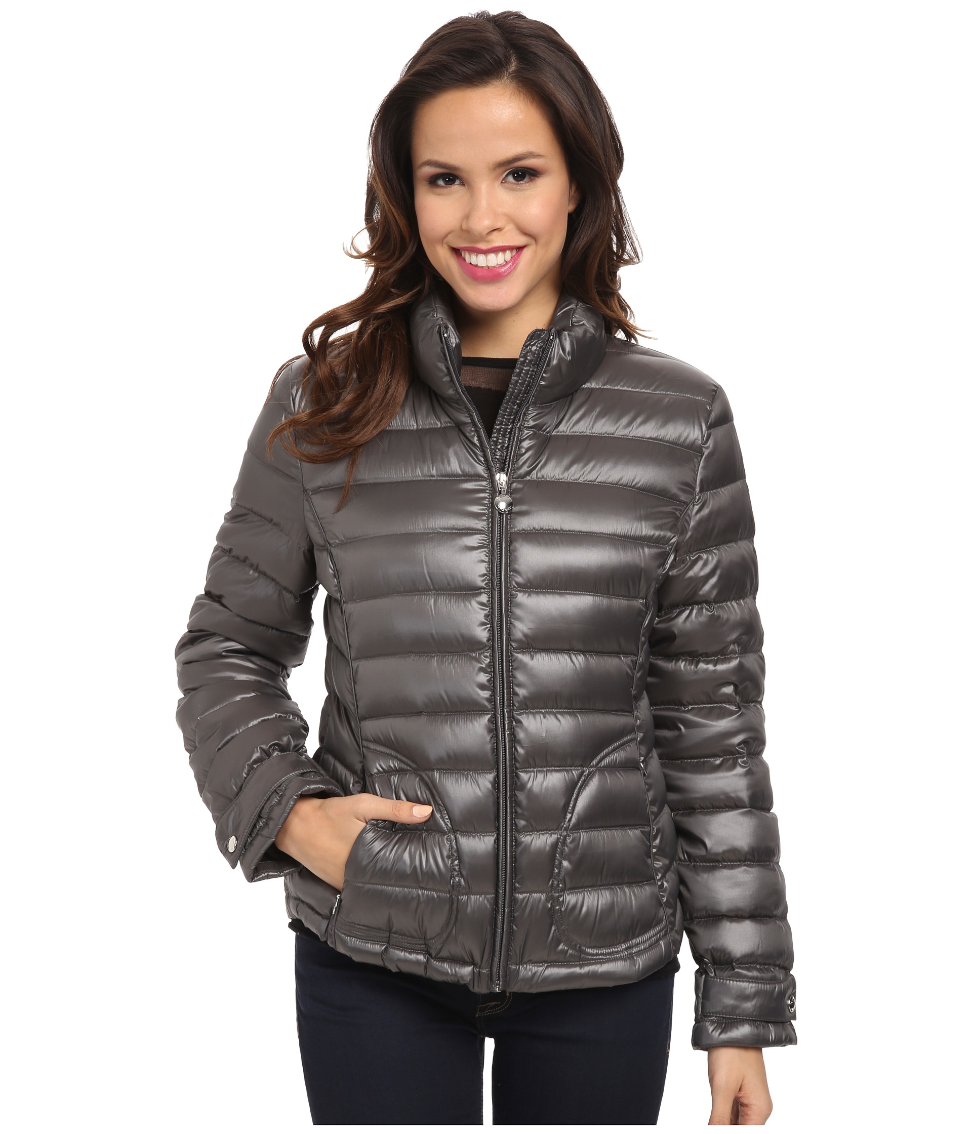 Calvin Klein Zipfront Puffy Packable Down Jacket Titan | Shipped Free