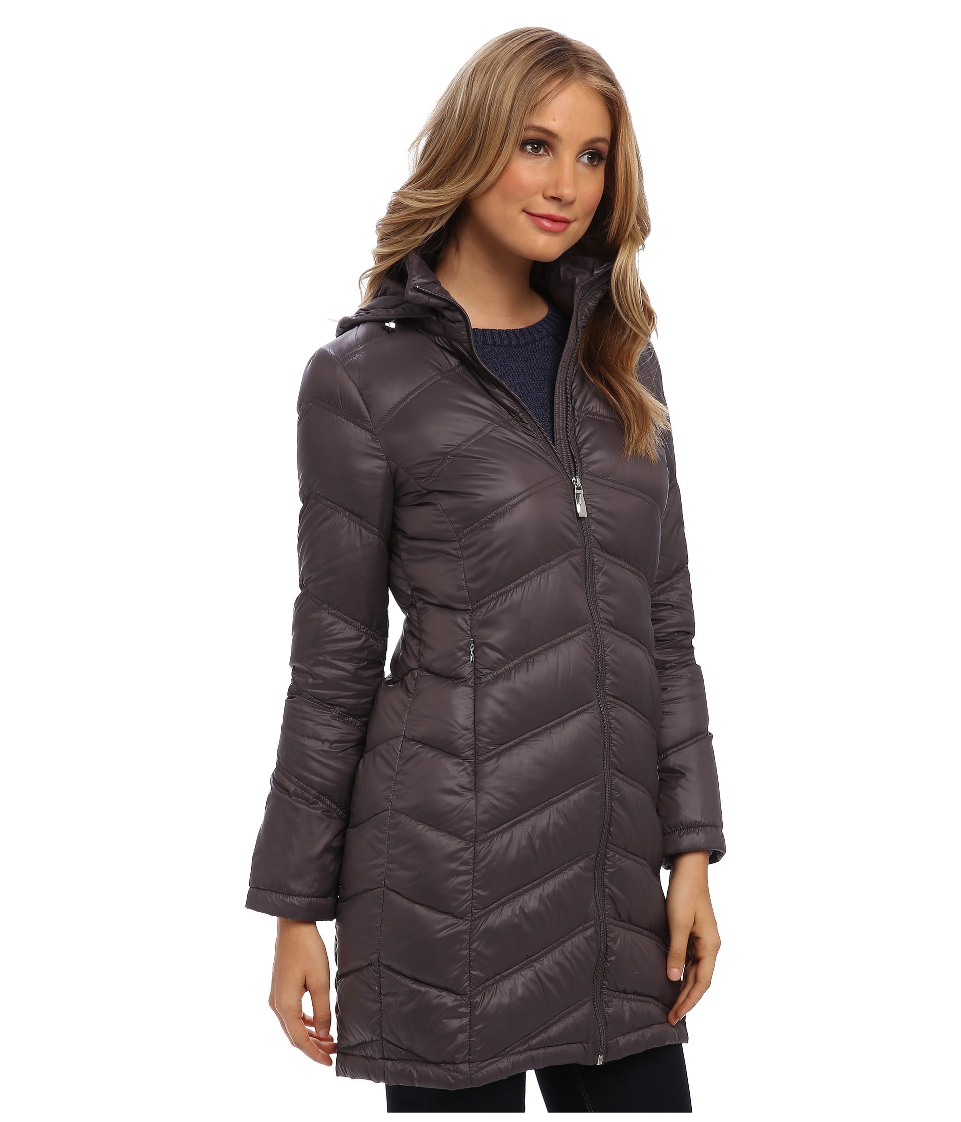 Calvin klein zipfront long nylon packable down jacket shipped free