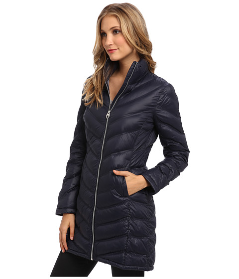 Calvin klein zip front long packable down jacket cw312100 ruby red