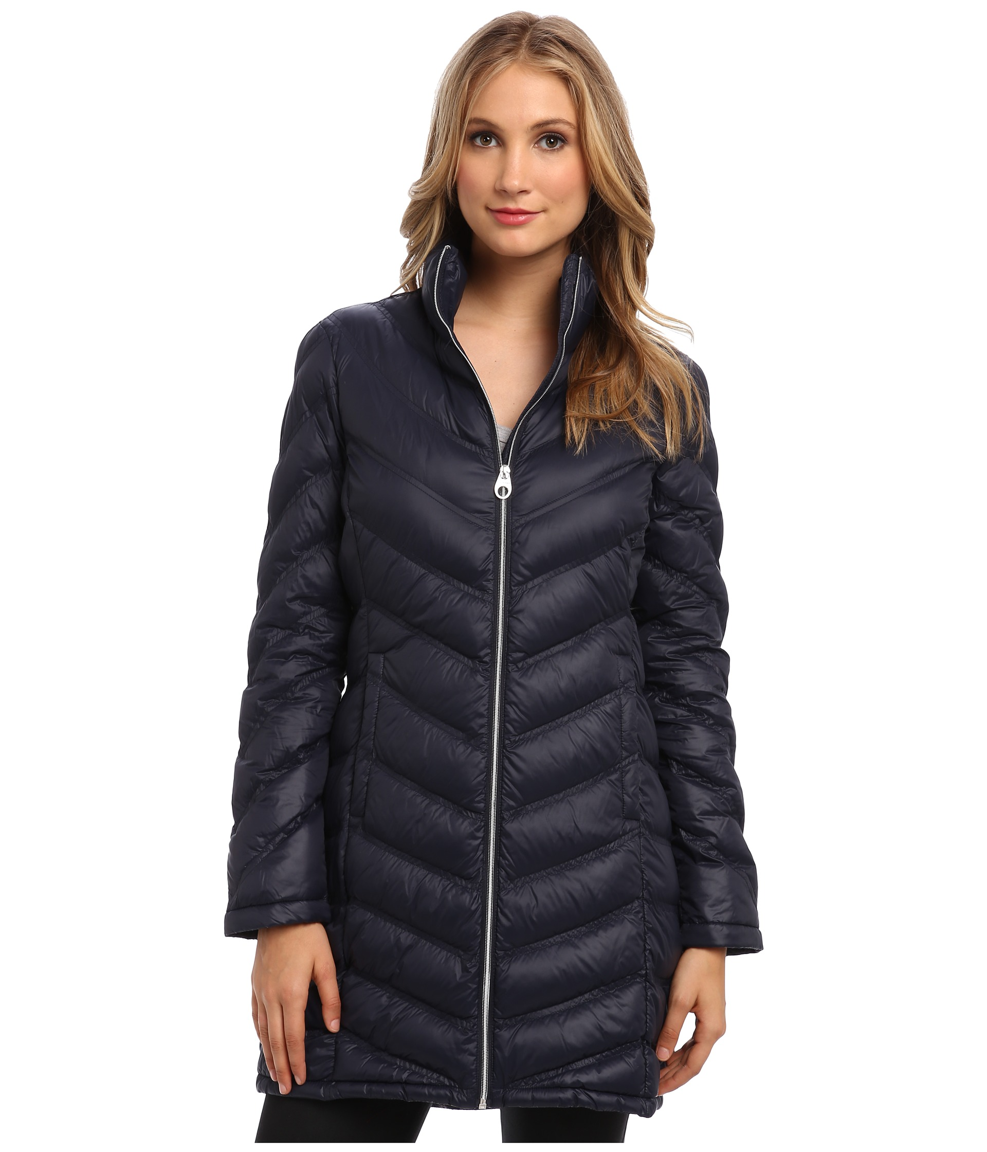 Calvin klein zip front long packable down jacket cw312100 shipped