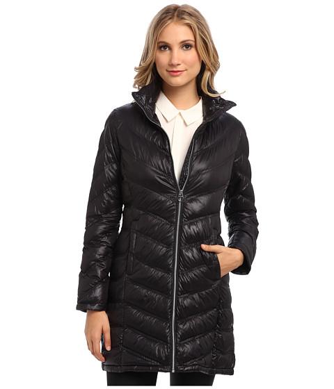 Calvin klein zip front long packable down jacket cw312100 black