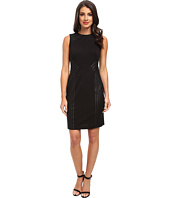 Calvin Klein - Dress w/ Faux Leather Detailing